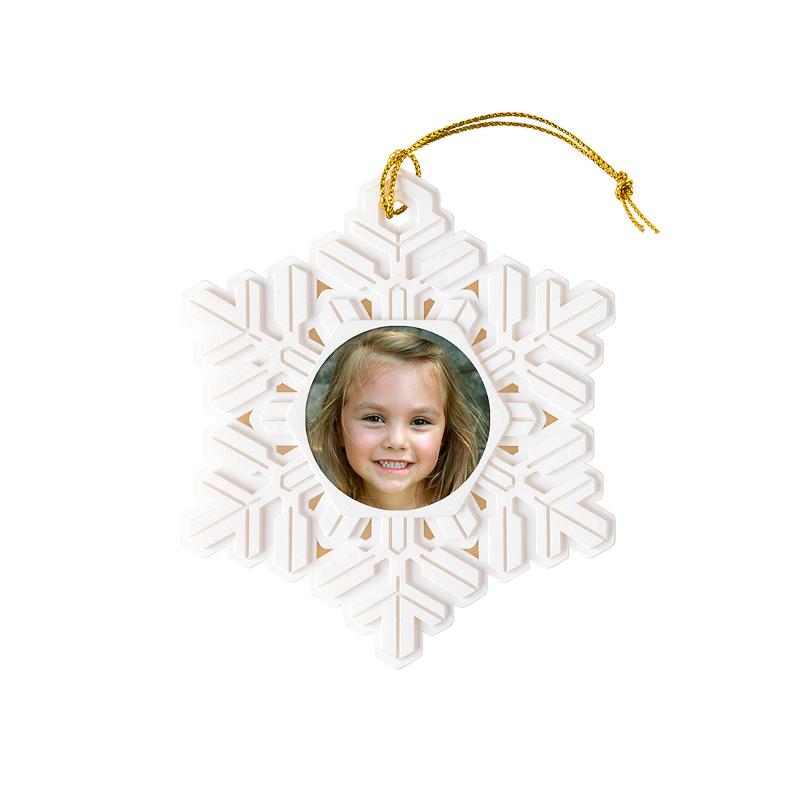 metallic snowflake photo ornament