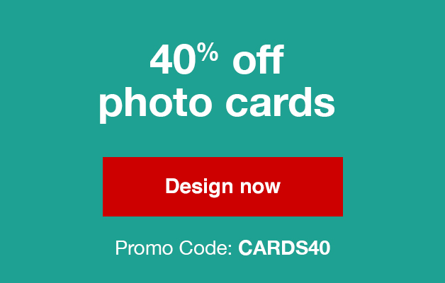 Take 40% off Photo cards (min 40) with Promo Code  CARDS40  Offers end 9/22/18.