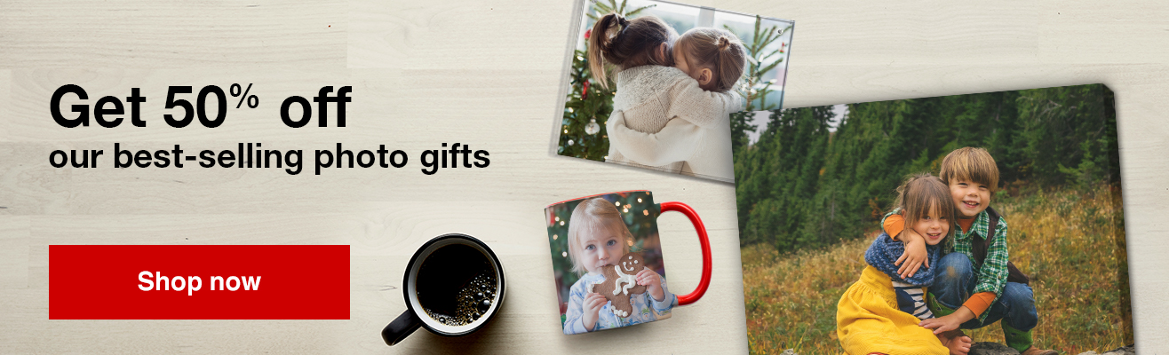 Save 50% off our top selling Photo gifts, this week only!