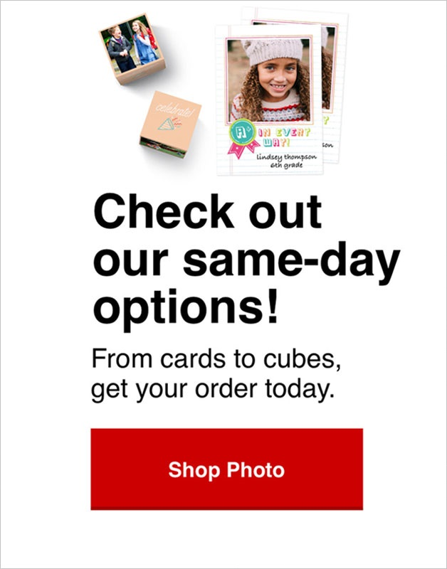 Shop our selection of same day photo gifts and save 50% today!
