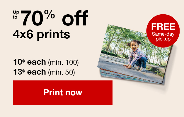 4x6 Print sale, offers ends 3/30/19! 10¢ 4x6 prints (min 100) with Promo Code SMILE10 or  13¢ 4x6 prints (min 50) with Promo Code SMILE13