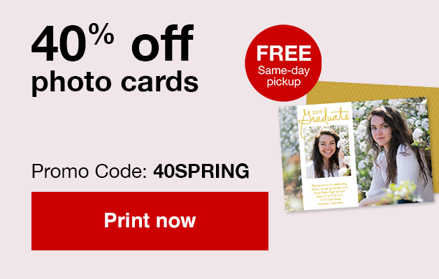 40% off cards with Promo Code 40SPRING   Offer ends 4/27/19.