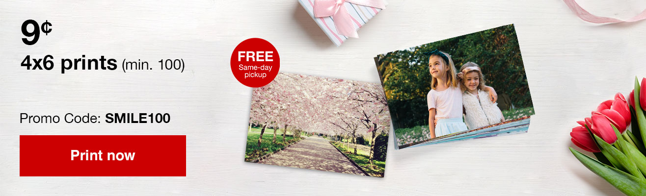 9¢ 4x6 prints (min 100) with Promo Code SMILE100 Offer ends 4/27/19.