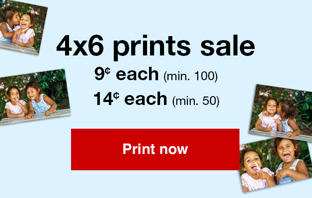 14¢ 4x6 prints (min 50) with Promo Code SMILE14 or 9¢ 4x6 prints (min 100) with Promo Code HAPPY9   Offers end 6/23/18.
