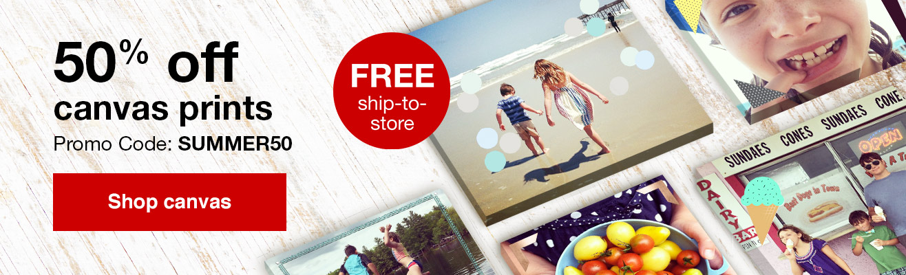 50% off canvas prints with Promo Code SUMMER50   Offer ends 6/23/18.