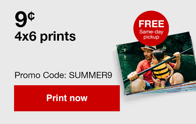 9¢ 4x6 prints (min 100) with Promo Code SUMMER9   Offers end 6/22/19.