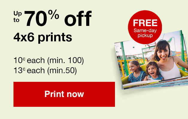 13¢ 4x6 prints (min. 50) with Promo Code 50PRINTS   Offers end 6/29/19.