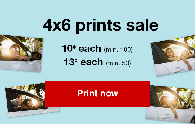 4x6 Print sale! 13¢ 4x6 prints (min. 50) with Promo Code PRINT13 or 10¢ 4x6 prints (min. 100) with Promo Code PRINT10 Offers end 7/21/18.