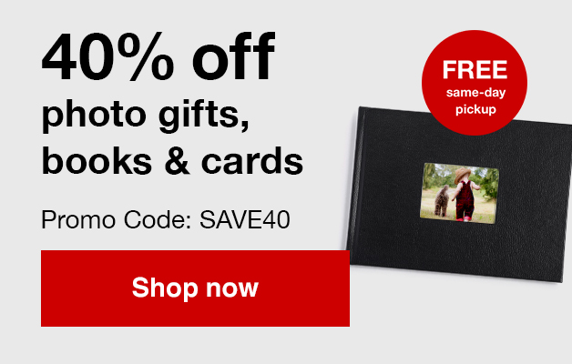 40% off Photo Gifts, Photo books and cards with Promo Code SAVE40 offer ends 7/27/19.