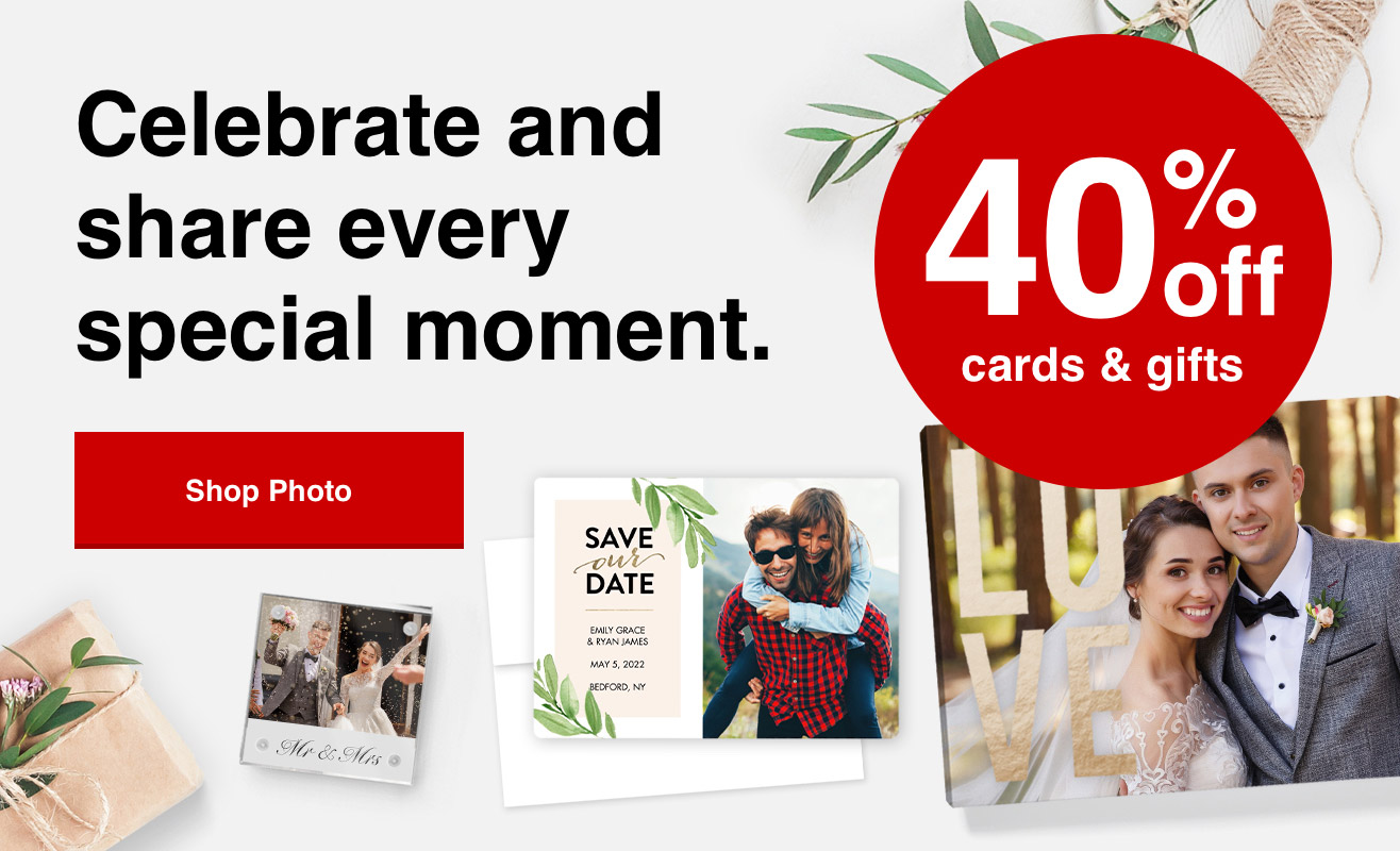 40% off cards and photo gifts with Promo Code SUMMER40   Offer ends 7/24/21.