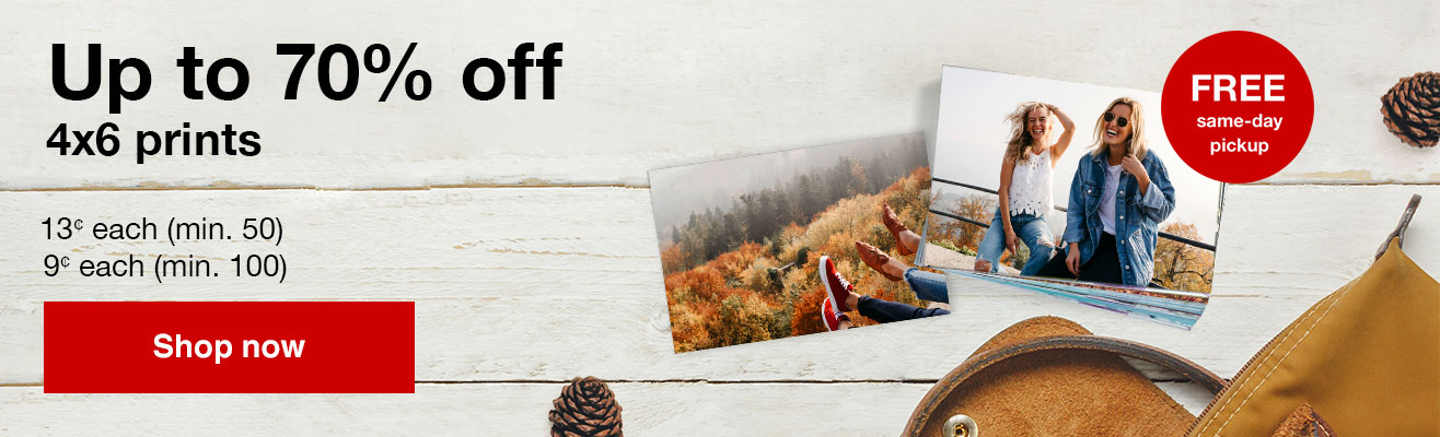 13¢ 4x6 prints (min 50) with Promo Code FALL13 Offers end  9/28/19.