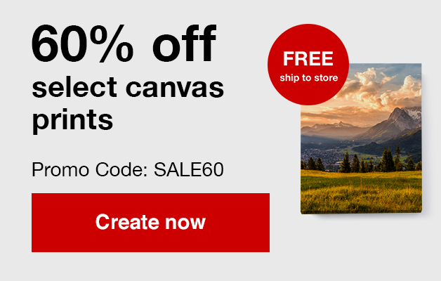 60% off 11x14, 16x20 and 24x36 canvas prints with Promo Code SALE60 Offer ends  9/28/19.