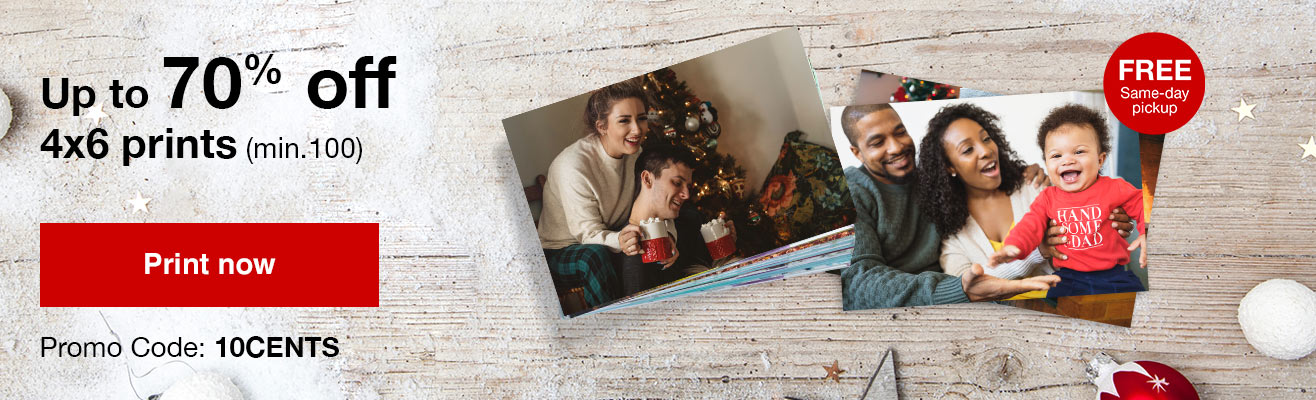 10¢ 4x6 prints (min 100) with Promo Code 10CENTS or 13¢ 4x6 prints (min 50) with Promo Code 13CENTS Offers end 1/19/19.