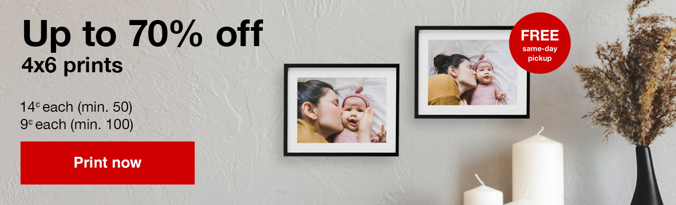 14¢ 4x6 prints (min 50) with Promo Code SMILE14 Offers end 1/18/20.