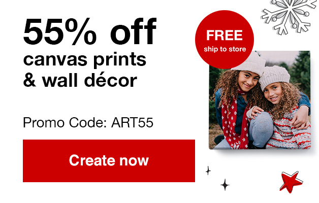 55% off canvas prints and wall décor with Promo Code ART55 Offers end  11/16/19.