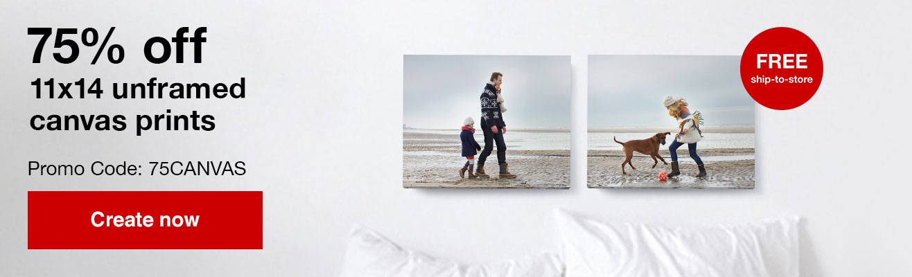 75% off 11x14 unframed canvas prints with Promo Code 75CANVAS   Offers end 1/25/20.