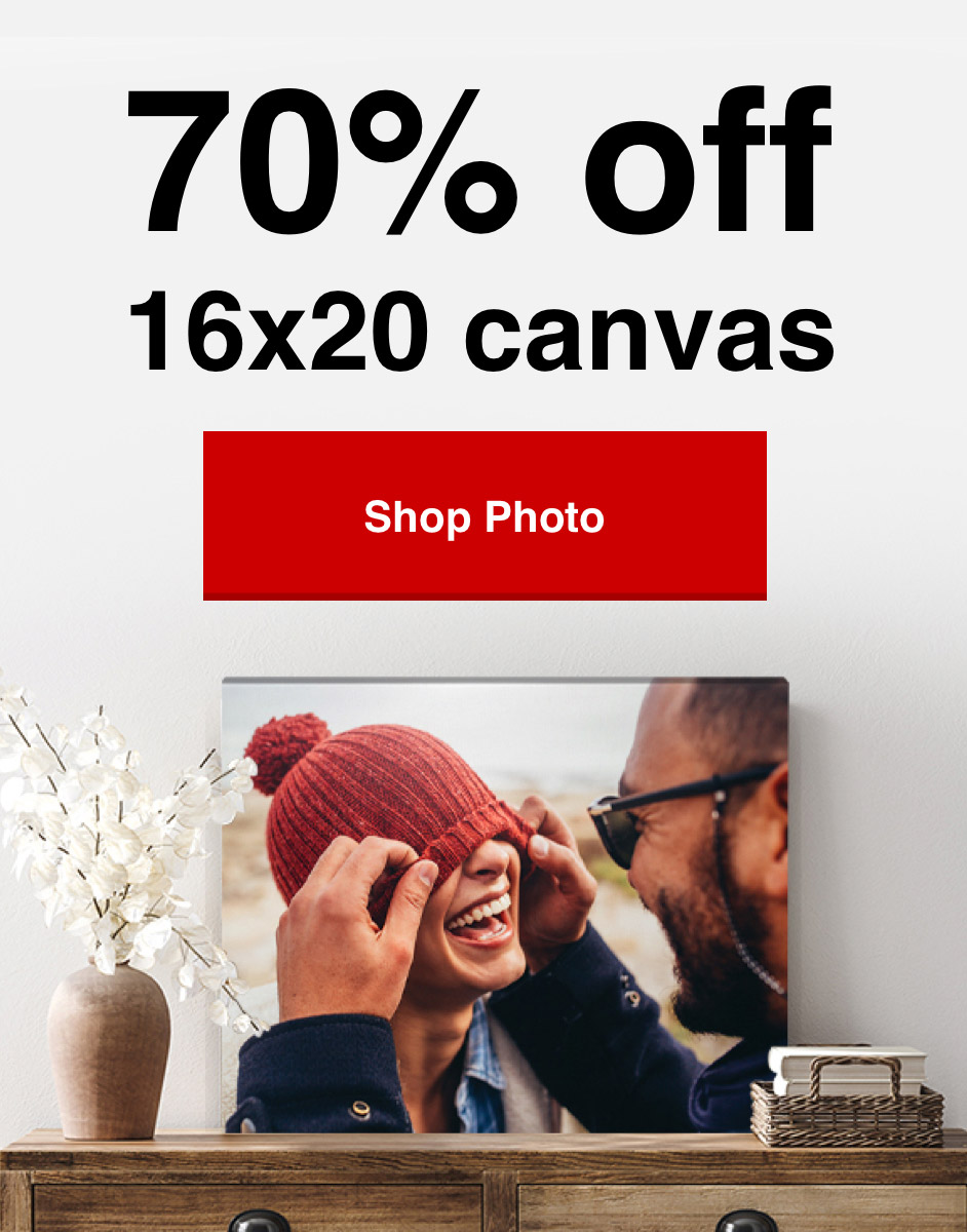 70% off 16x20 canvas prints with Promo Code 70CANVAS Offer ends 1/23/21. Create now >