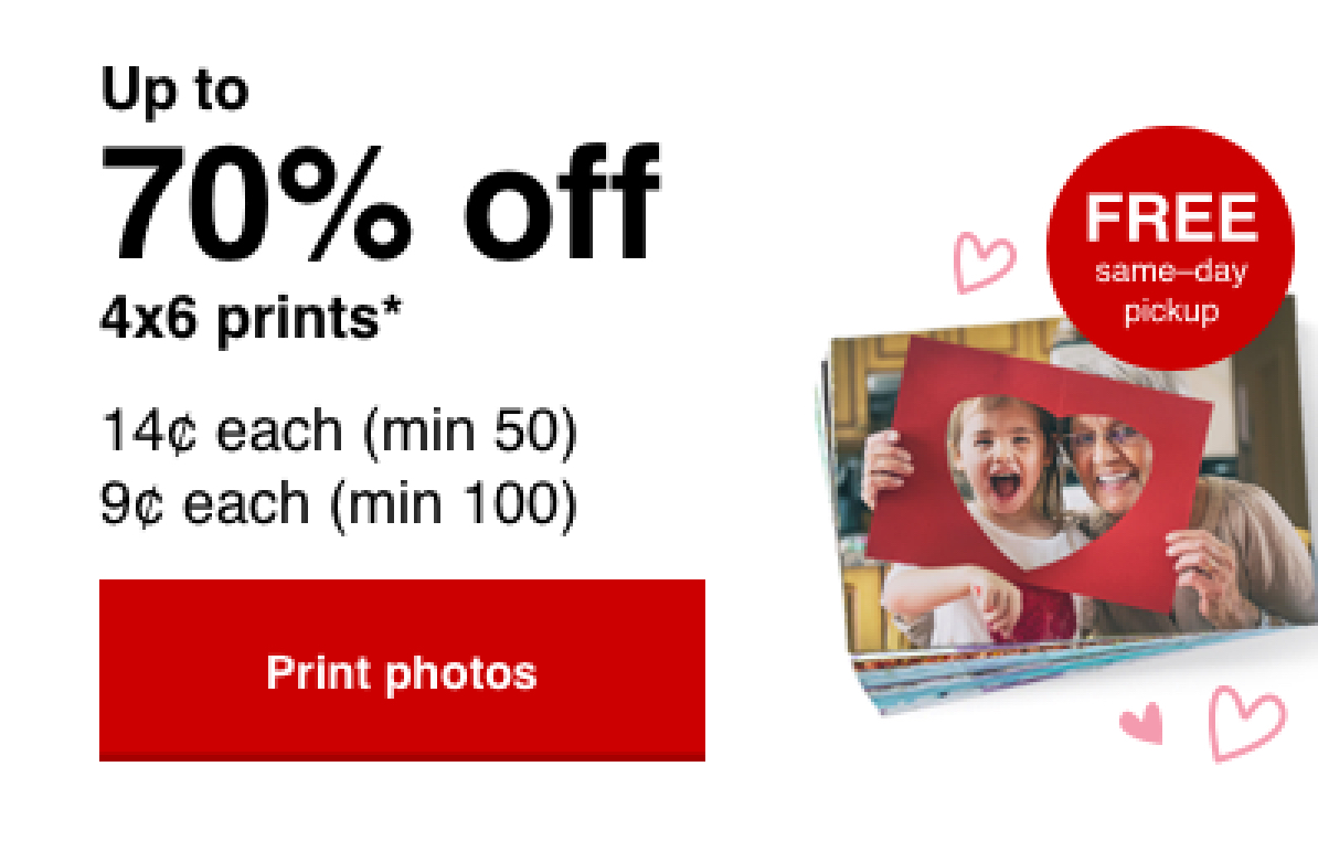 14¢ 4x6 prints (min 50) with Promo Code PRINT14 Offer ends 2/1/20.