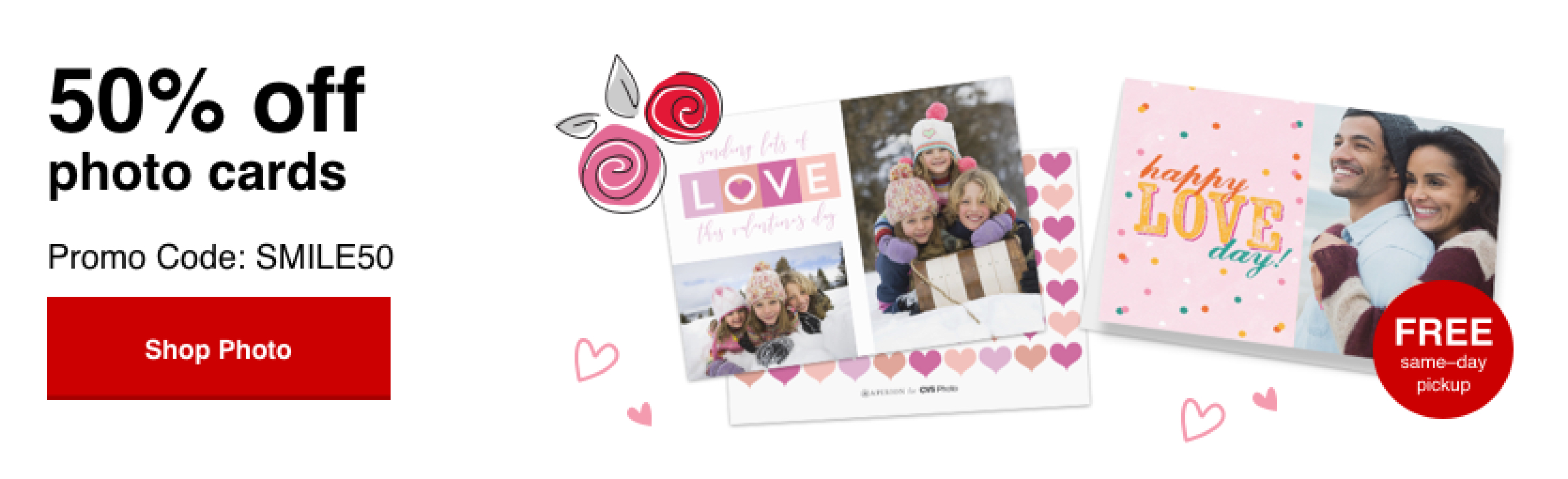 50% off Photo cards with Promo Code SMILE50 Offer ends 2/1/20.