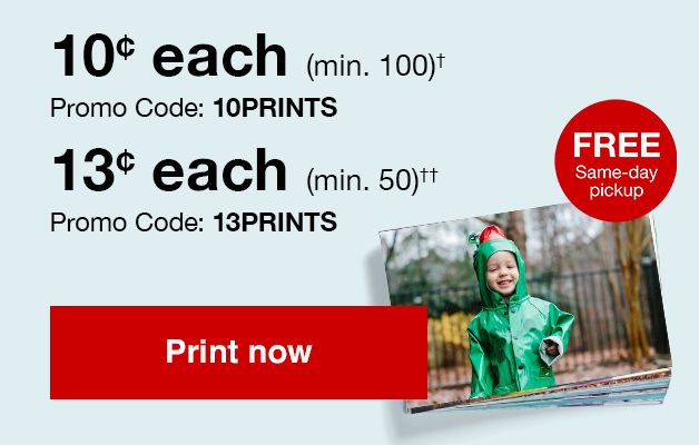 4x6 Print sale! 13¢  4x6 prints (min 50) with Promo Code 13PRINTS or 10¢  4x6 prints (min 100) with Promo Code 10PRINTS Offers end 2/23/19.
