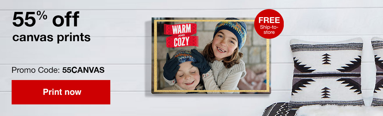 55% off canvas prints with Promo Code 55CANVAS  Offer ends 2/23/19.