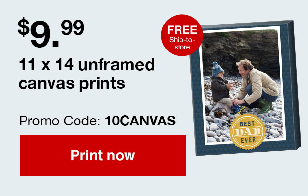 3 day flash sale, 11x14 unframed canvas prints just $9.99 ea.! Use Promo Code 10CANVAS Offer ends 2/26/19.