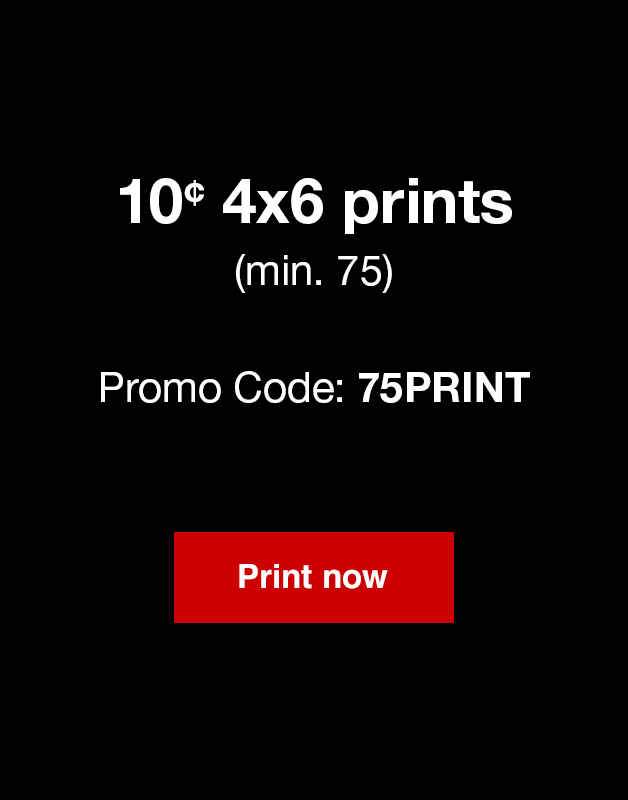 10¢ 4x6 Prints (min. 75) with Promo Code 75PRINT. Offer ends 3.3.18.
