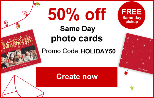Get 50% off your holiday Photo cards today!
