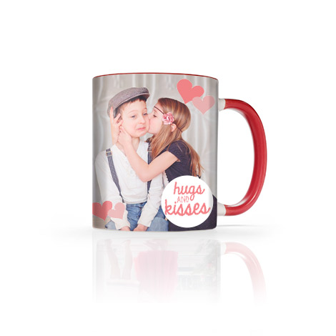 11 oz red photo mug