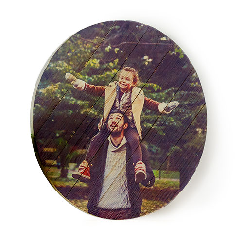 Rustic Wood Oval Print