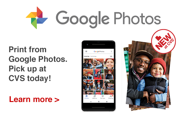 New at CVS.  Print your Photos with Google Photos today!
