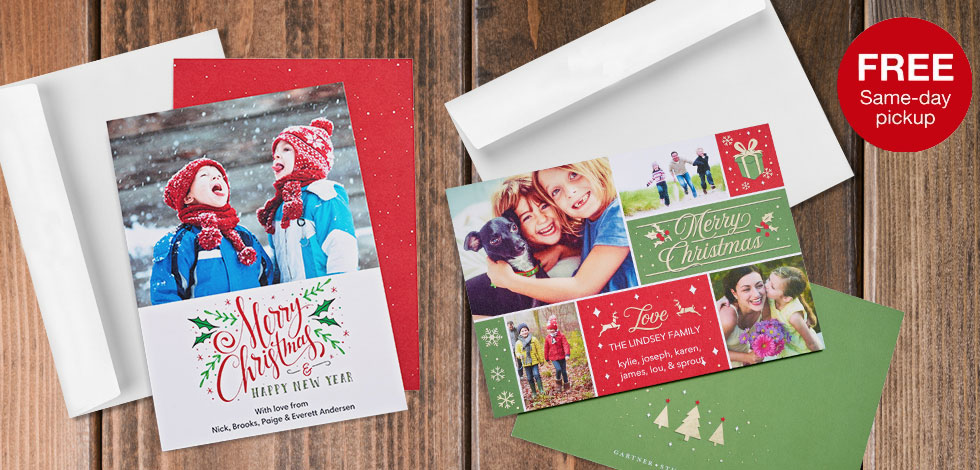 5x7 2 sided cards available for same day pickup